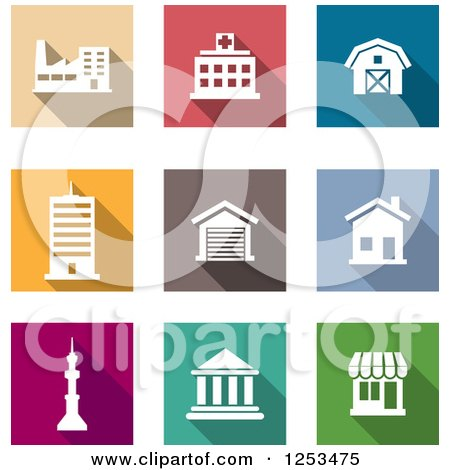 Clipart of Colorful Square Architecture Icons - Royalty Free Vector Illustration by Vector Tradition SM