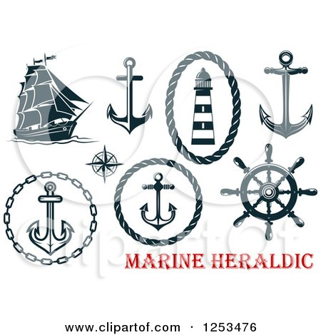 Clipart of Navy Blue Nautical Anchors and Heraldic Designs - Royalty Free Vector Illustration by Vector Tradition SM