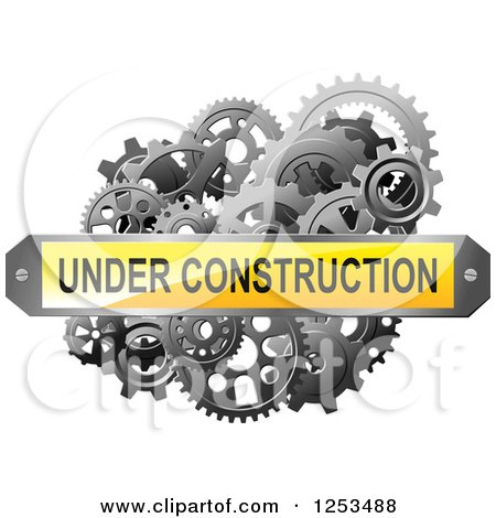 Clipart of a 3d Under Construction Plaque over Gears - Royalty Free Vector Illustration by Vector Tradition SM