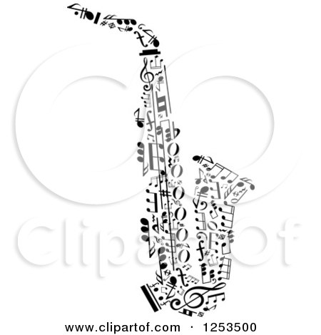 Clipart of a Black and White Saxophone Made of Music Notes - Royalty Free Vector Illustration by Vector Tradition SM