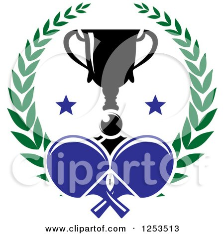 Clipart of a Ping Pong Ball and Paddles with a Trophy and Laurel Wreath - Royalty Free Vector Illustration by Vector Tradition SM