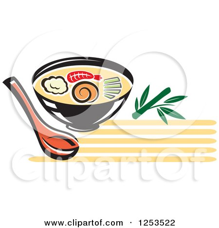 Clipart of a Bowl of Oriental Soup - Royalty Free Vector Illustration by Vector Tradition SM