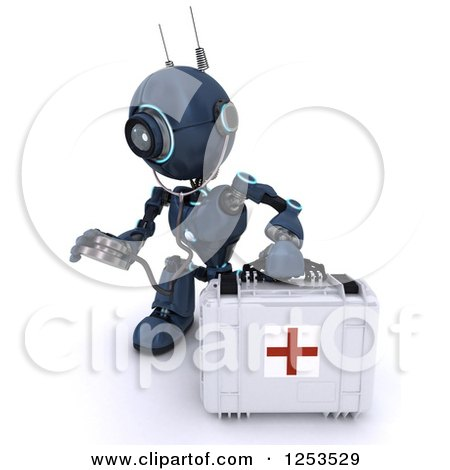 Clipart of a 3d Blue Android Robot Paramedic Using a Stethoscope by a First Aid Kit - Royalty Free Illustration by KJ Pargeter