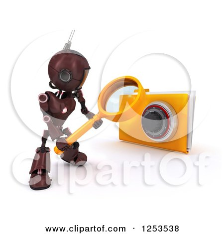 Clipart of a 3d Red Android Robot Using a Magnifying Glass to Search a Locked Folder - Royalty Free Illustration by KJ Pargeter