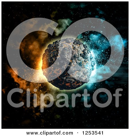 Clipart of a 3d Volcanic Planet and Nebula - Royalty Free Illustration by KJ Pargeter