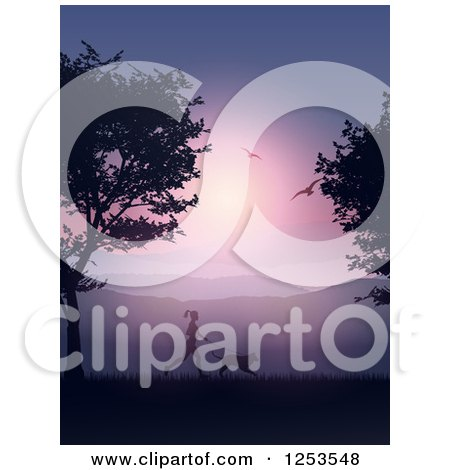 Clipart of a Silhouetted Fit Woman Jogging with Her Dog at Sunset - Royalty Free Vector Illustration by KJ Pargeter