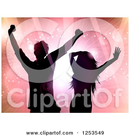 Clipart of a Silhouetted Couple Dancing over Flares of Light - Royalty Free Vector Illustration by KJ Pargeter