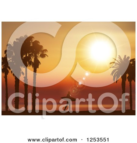 Clipart of a Lone Silhouetted Surfer Walking Against an Orange Tropical Sunset - Royalty Free Vector Illustration by KJ Pargeter