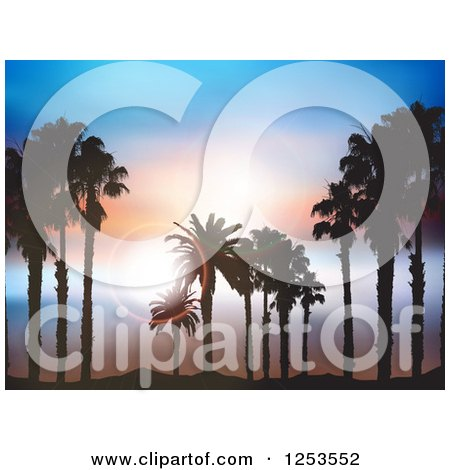 Clipart of Silhouetted Island Palm Trees over Sky with Flares - Royalty Free Vector Illustration by KJ Pargeter