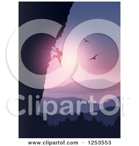 Clipart of a Silhouetted Rock Climber over a Lake, Mountains and Birds at Sunset - Royalty Free Vector Illustration by KJ Pargeter