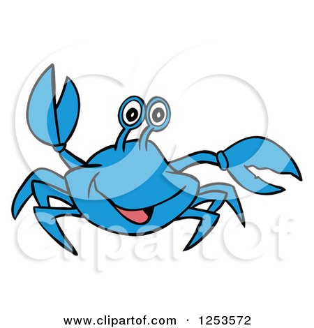 clipart of a waving blue crab royalty free vector illustration by rh clipartof com
