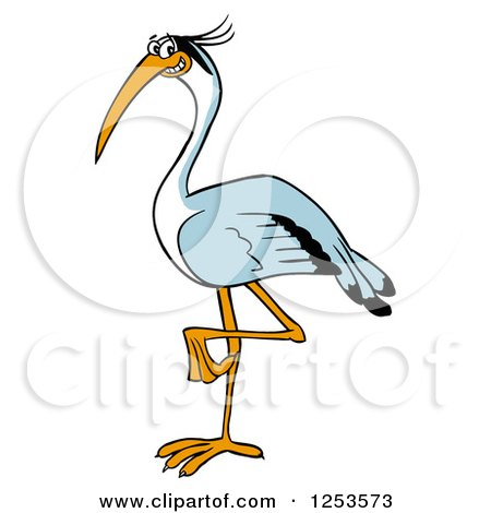 Clipart of a Happy Blue Heron Bird - Royalty Free Vector Illustration by LaffToon