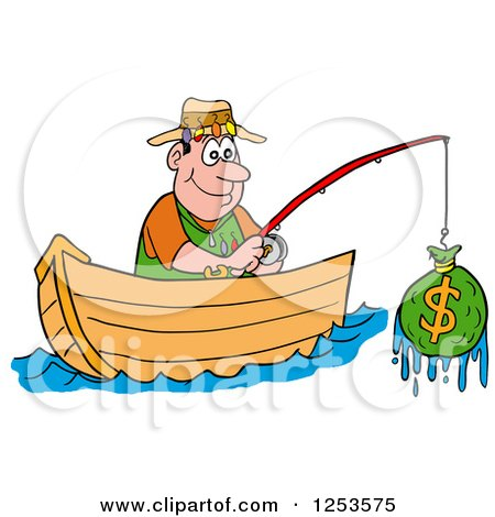 Cartoon of a happy white man throwing cash money up into for Fish for cash