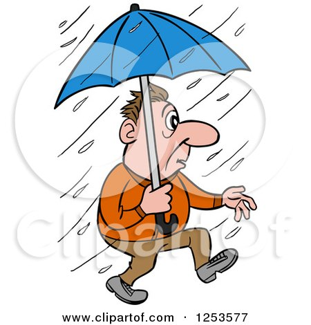 Clipart of a White Man Walking in a Rain Storm with an Umbrella - Royalty Free Vector Illustration by LaffToon