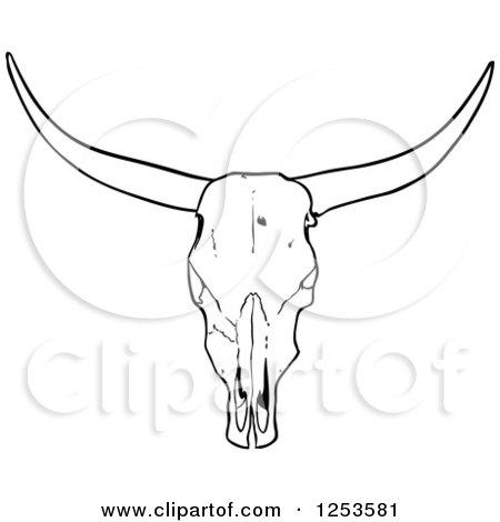 Black and White Long Horned Steer Skull Posters, Art Prints