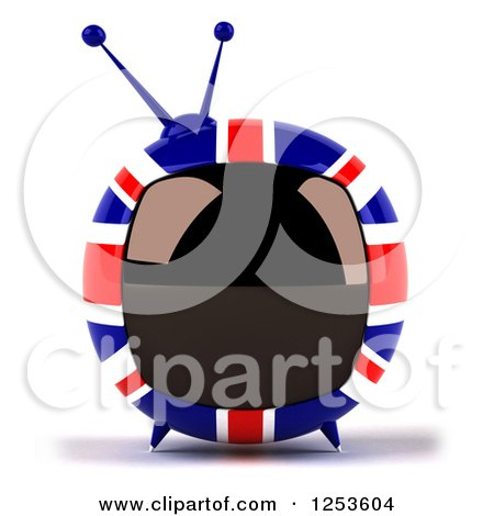 Clipart of a 3d British Flag Retro Box Tv - Royalty Free Illustration by Julos