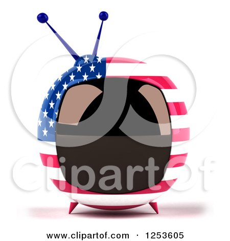 Clipart of a 3d American Flag Retro Box Tv - Royalty Free Illustration by Julos