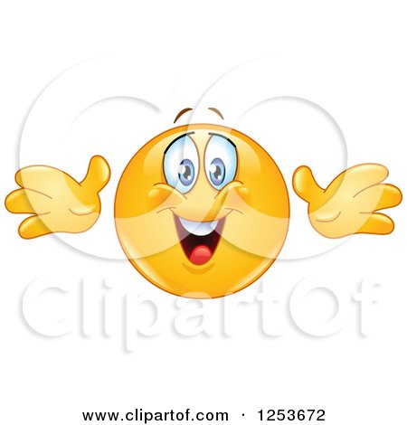 Clipart of a Happy Yellow Emoticon Smiley Reaching out for a Hug - Royalty Free Vector Illustration by yayayoyo