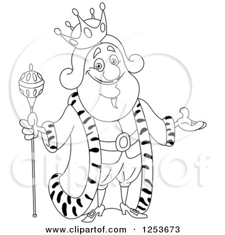 Clipart of a Black and White Line Art Design of a Welcoming King - Royalty Free Vector Illustration by yayayoyo
