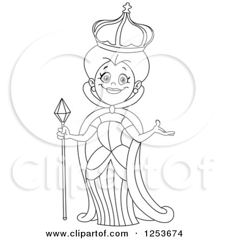 Clipart of a Black and White Line Art Design of a Welcoming Queen - Royalty Free Vector Illustration by yayayoyo