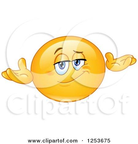 Clipart of a Yellow Emoticon Smiley Shrugging - Royalty Free Vector Illustration by yayayoyo