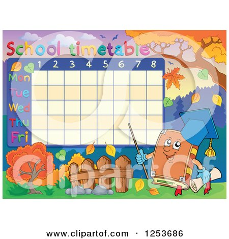 Clipart of a School Timetable with a Professor Book - Royalty Free Vector Illustration by visekart