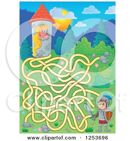 Clipart of a Rapunzel and Knight Maze - Royalty Free Vector Illustration by visekart