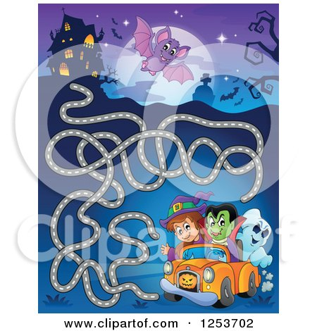 Clipart of a Driving Vampire Witch Ghost, Flying Bat and Haunted House Halloween Maze - Royalty Free Vector Illustration by visekart