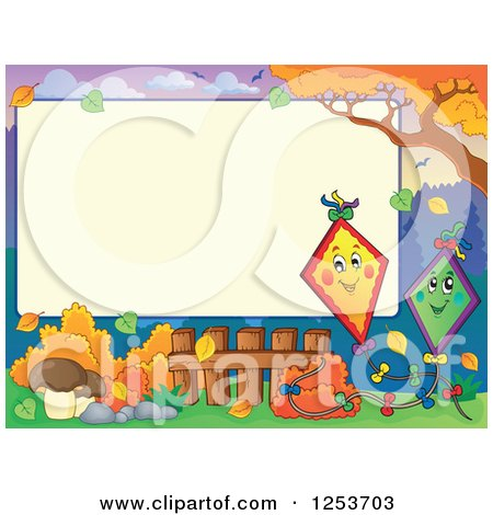 Clipart of a Blank Board and Autumn Border with Kites - Royalty Free Vector Illustration by visekart