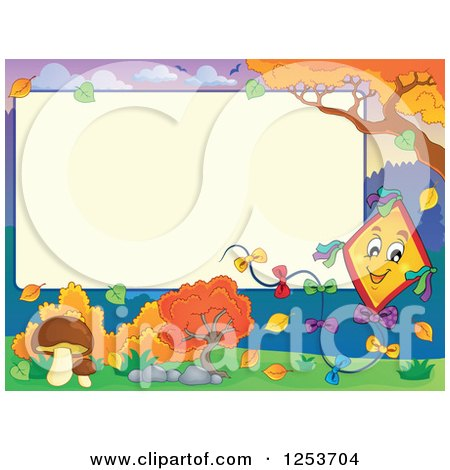 Clipart of a Blank Board and Autumn Border with a Kite - Royalty Free Vector Illustration by visekart