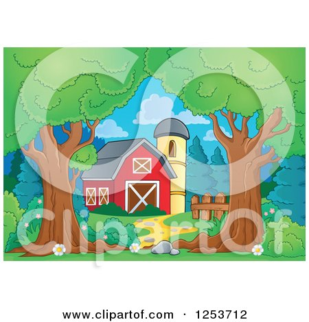 Clipart of Trees Framing a Barn and Silo - Royalty Free Vector Illustration by visekart