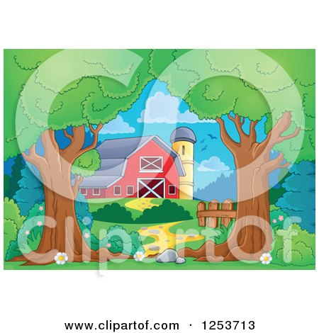 Clipart of Trees Framing a Red Barn and Silo - Royalty Free Vector Illustration by visekart
