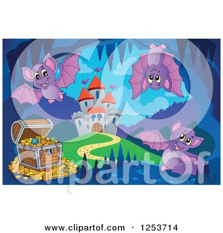 Clipart of a Treasure Chest and Bats in a Cave near a Castle - Royalty Free Vector Illustration by visekart