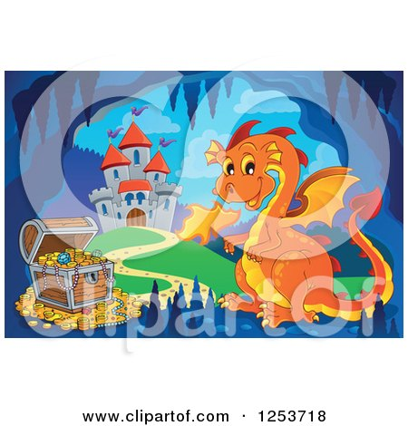 Clipart of an Orange Fire Breathing Dragon and Treasure in a Cave near a Castle - Royalty Free Vector Illustration by visekart