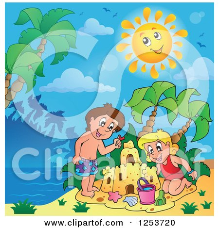 Clipart of a White Boy and Girl Making a Sand Castle on a Sunny Tropical Beach - Royalty Free Vector Illustration by visekart