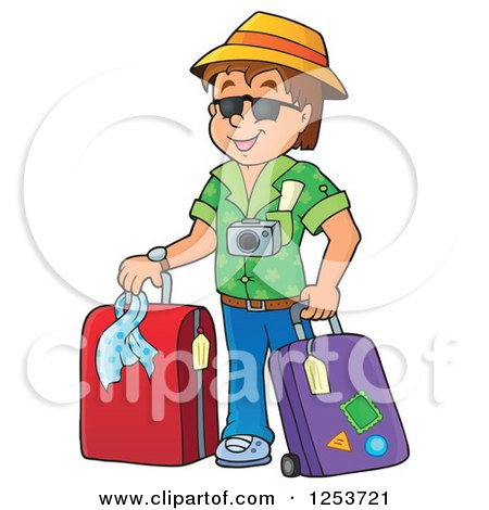 Clipart of a Happy Brunette White Man Traveler with Luggage - Royalty Free Vector Illustration by visekart
