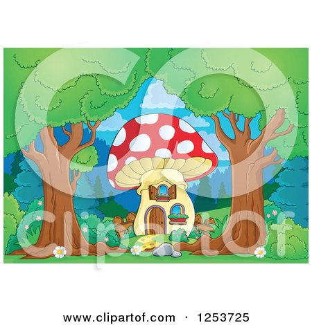 Clipart of Trees Framing a Mushroom House - Royalty Free Vector Illustration by visekart