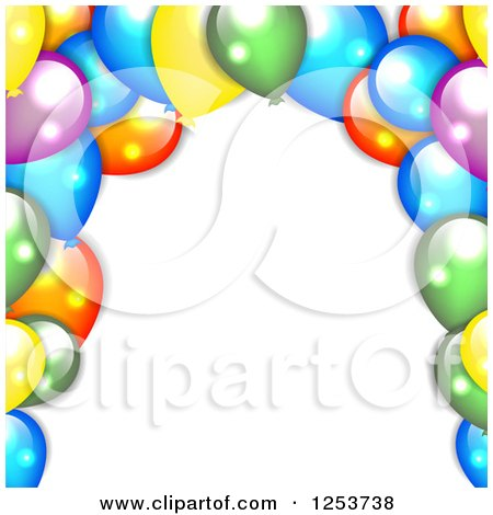 Clipart of a Background of Colorful Party Balloons on White - Royalty Free Vector Illustration by vectorace