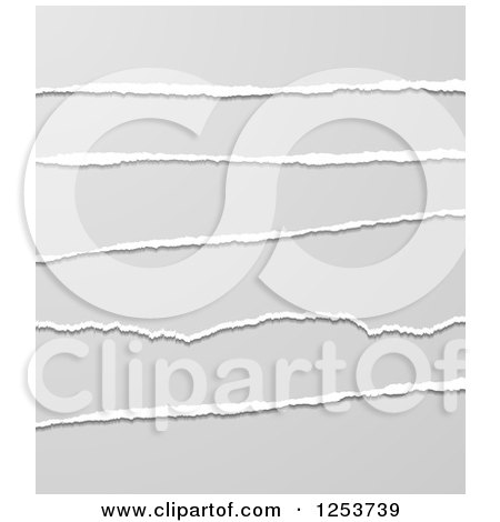 Clipart of a Gray Torn Paper Background - Royalty Free Vector Illustration by vectorace