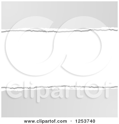 Clipart of a White and Gray Torn Paper Background - Royalty Free Vector Illustration by vectorace