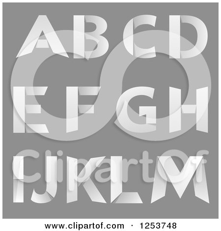 Clipart of Capital Folded Paper Alphabet Letters a Through M - Royalty Free Vector Illustration by vectorace