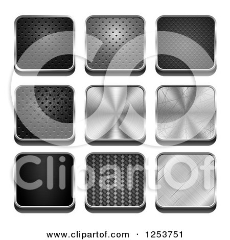 Clipart of 3d Square Metal Textured Icons - Royalty Free Vector Illustration by vectorace