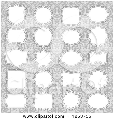 Clipart of Labels on Floral Gray - Royalty Free Vector Illustration by vectorace