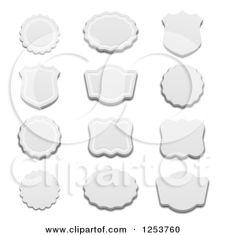 Clipart of Gray Labels with Shadows on White - Royalty Free Vector Illustration by vectorace