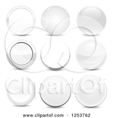 Clipart of 3d Glossy White Round Icons and Shadows - Royalty Free Vector Illustration by vectorace