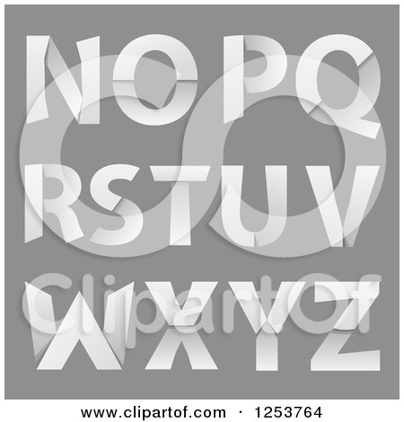 Clipart of Capital Folded Paper Alphabet Letters N Through Z - Royalty Free Vector Illustration by vectorace