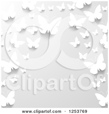Clipart of a Border of 3d White Paper Butterflies on Gray - Royalty Free Vector Illustration by vectorace