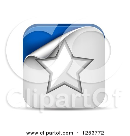 Clipart of a 3d Peeling White and Blue Star Square Icon and Shadow - Royalty Free Vector Illustration by vectorace