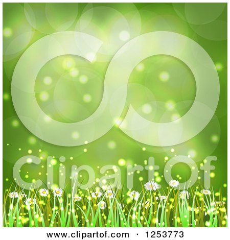 Clipart of a Green Spring Flower and Grass Background - Royalty Free Vector Illustration by vectorace