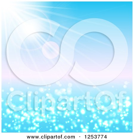 Clipart of a Summer Sun Shining over the Ocean - Royalty Free Vector Illustration by vectorace